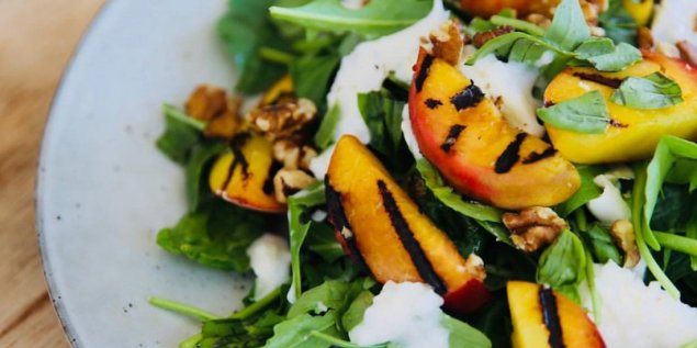 Grilled peaches w/ torn basil