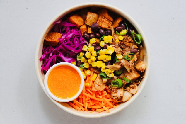 vegan smoky jack bowl w/ chipotle aioli